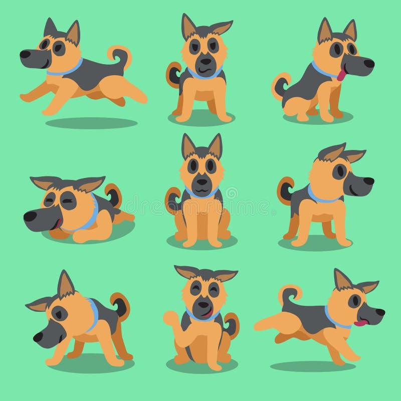 Actitudes del perro de pastor alemán del personaje de dibujos animados ilustración del vector