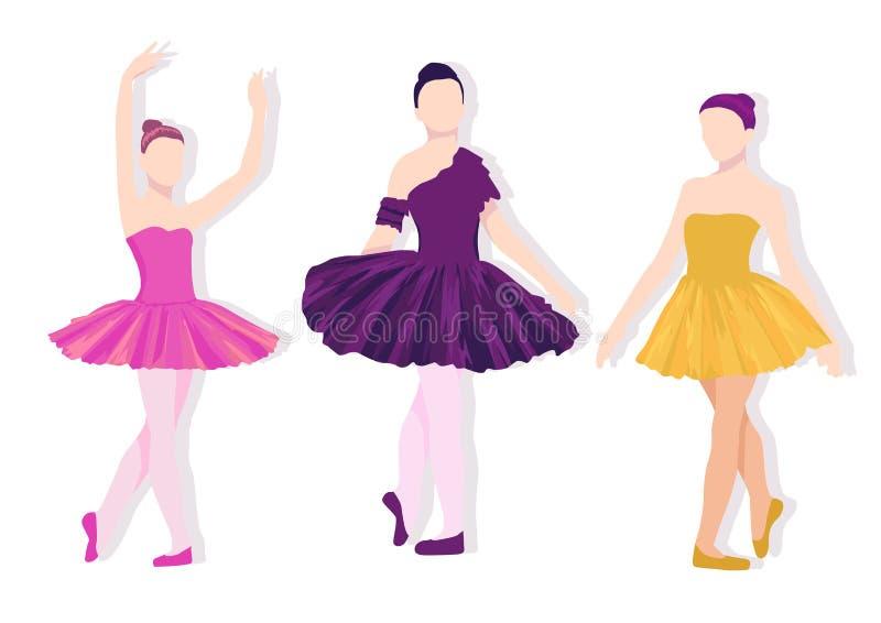 Actitudes del sistema del ballet Ejemplo colorido con el baile de las muchachas stock de ilustración