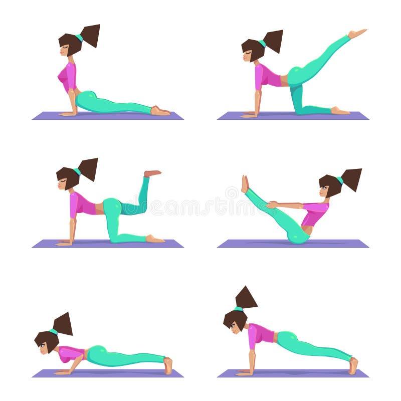 Actitudes determinadas de la yoga, una yoga en una estera, ejercicio de la aptitud, entrenamiento - ejemplo de las prácticas de l ilustración del vector
