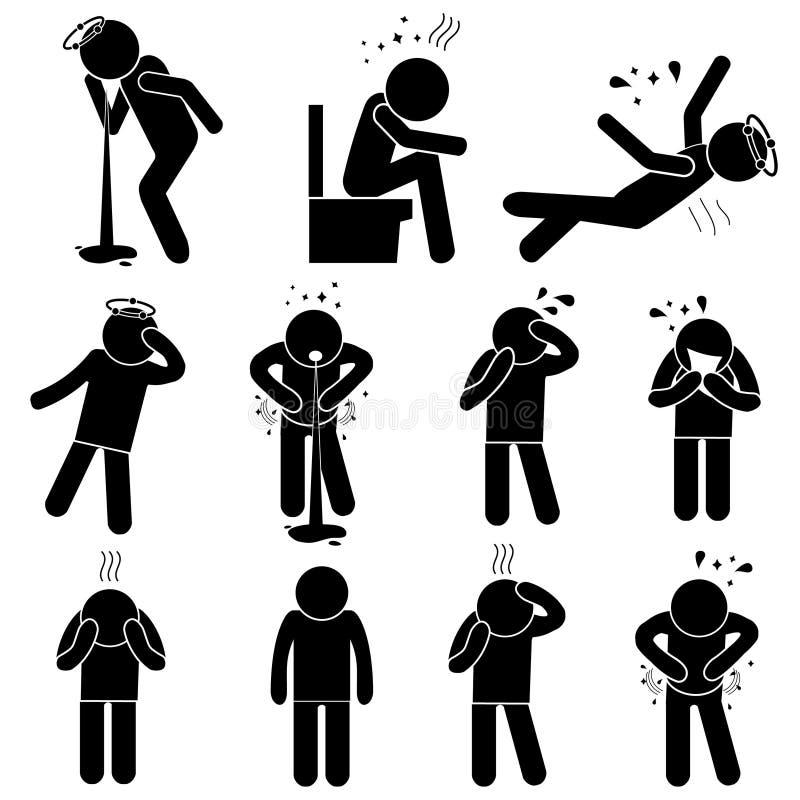 Actitudes enfermas de la silueta del hombre Sistema de iconos de las enfermedades Ilustración del vector ilustración del vector