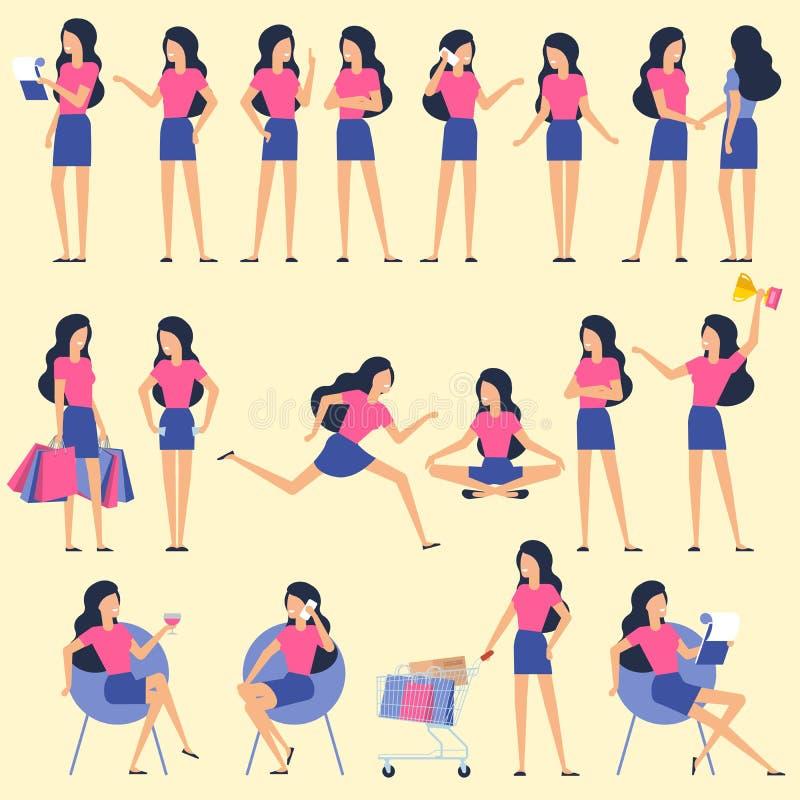 Actitudes planas determinadas de la animación del carácter de la mujer del diseño ilustración del vector