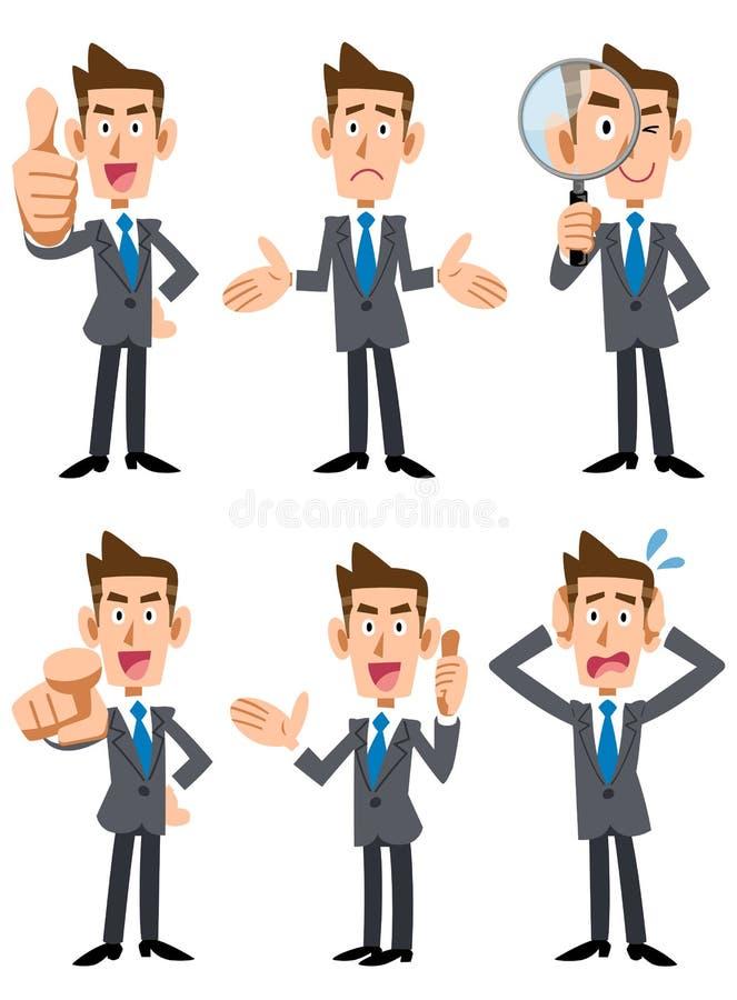 6 actitudes y gestos de hombres de negocios stock de ilustración