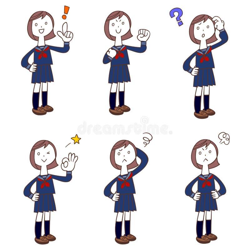 Actitudes y gestos de las colegialas que llevan los uniformes, traje de marinero ilustración del vector