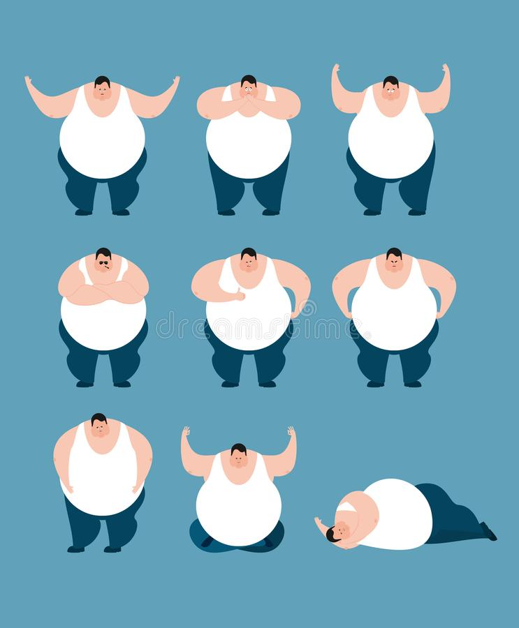 Actitudes y movimiento del sistema de la grasa Individuo valiente feliz y yoga Slee grande del hombre libre illustration