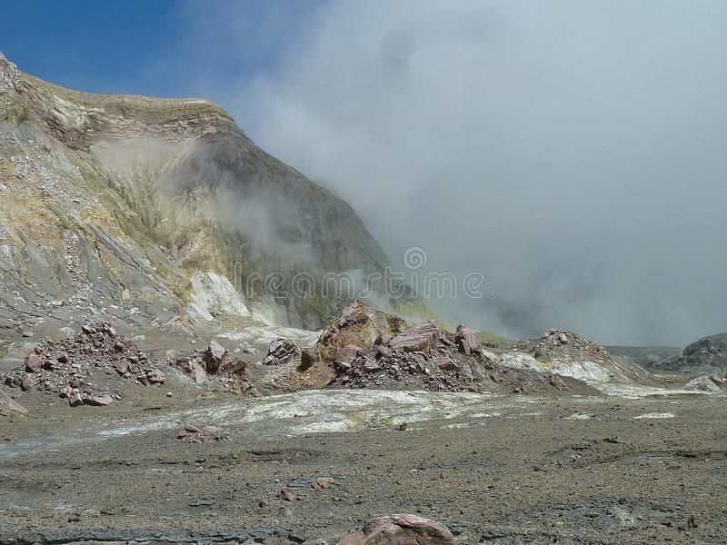 On activ volcano white island offshore geotermal area, New Zealand. On activ volcano white island offshore in hot and steam geotermal area, New Zealand stock photo