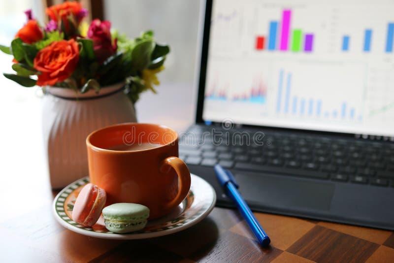 Activación con café durante el concepto del trabajo imagenes de archivo