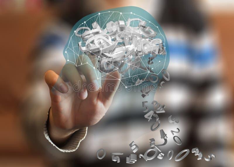Activación de una porción del cerebro en una pantalla virtual contra un fondo borroso fotos de archivo libres de regalías