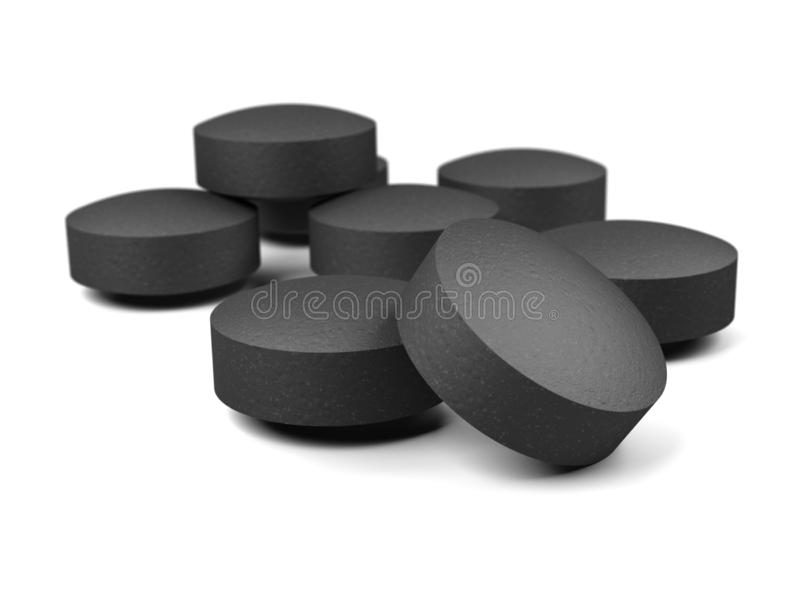 Activated carbon pills isolated on white background. Activated charcoal. Carbo activatus. 3d illustration stock illustration