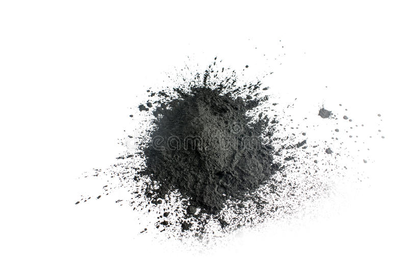 Activated charcoal powder shot with macro lens royalty free stock photo
