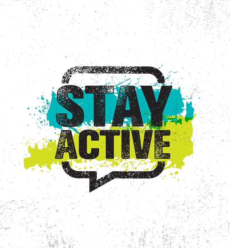 Active пребывания Воодушевляя шаблон плаката цитаты жизни творческой мотивировки здоровый Идея проекта знамени оформления вектора бесплатная иллюстрация