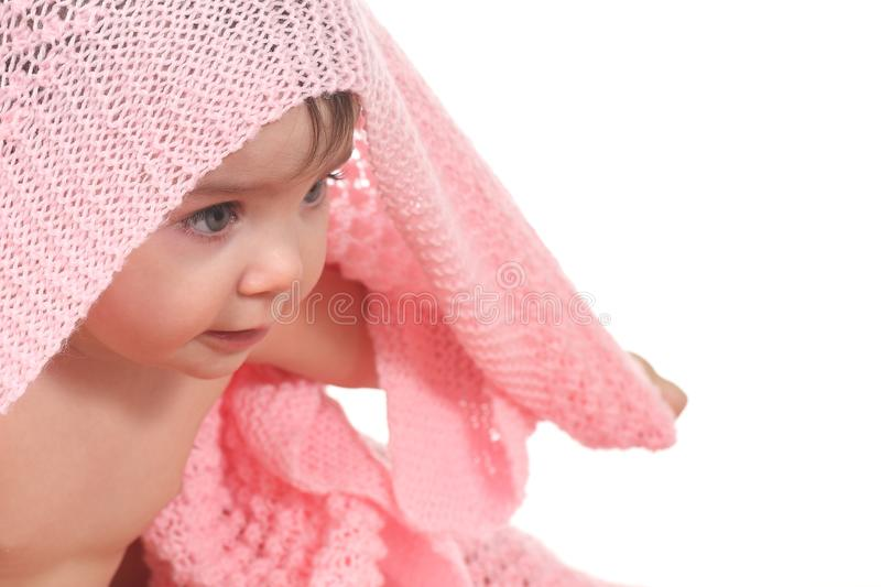 Download Active Baby Under A Pink Blanket Stock Image - Image: 28415193