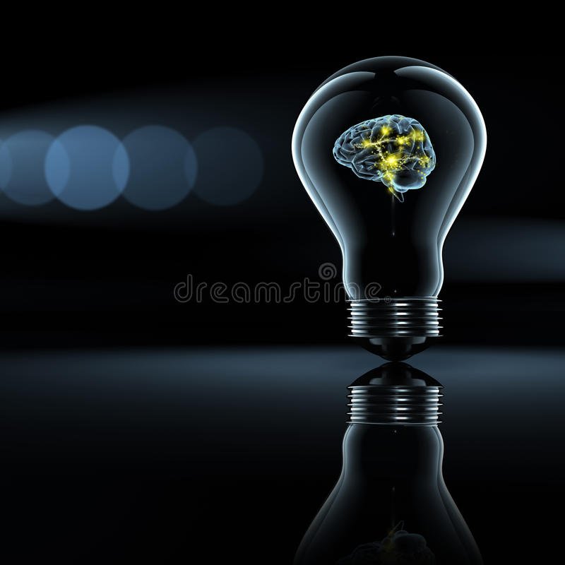Active brain in a bulb stock illustration