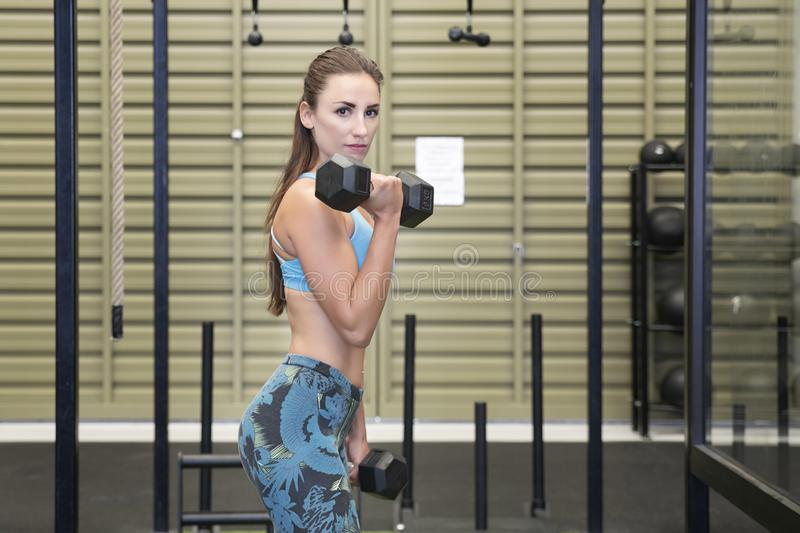 Active Caucasian female lifting heavy dumbbells, working out her arms at the gym stock photography