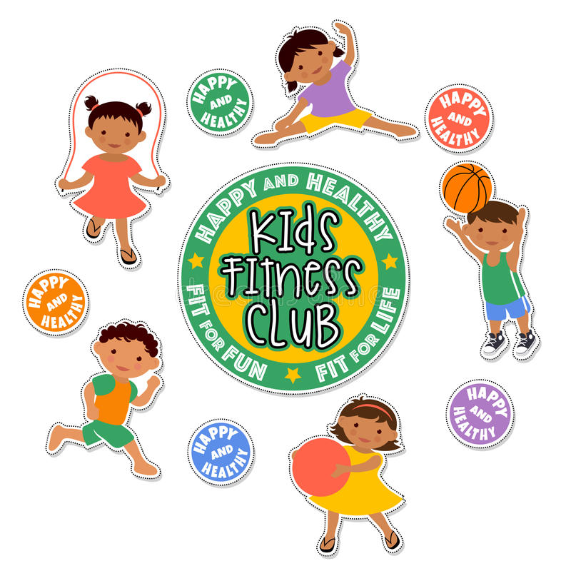 Download Active Children Playing Sports Sticker Set Stock Vector