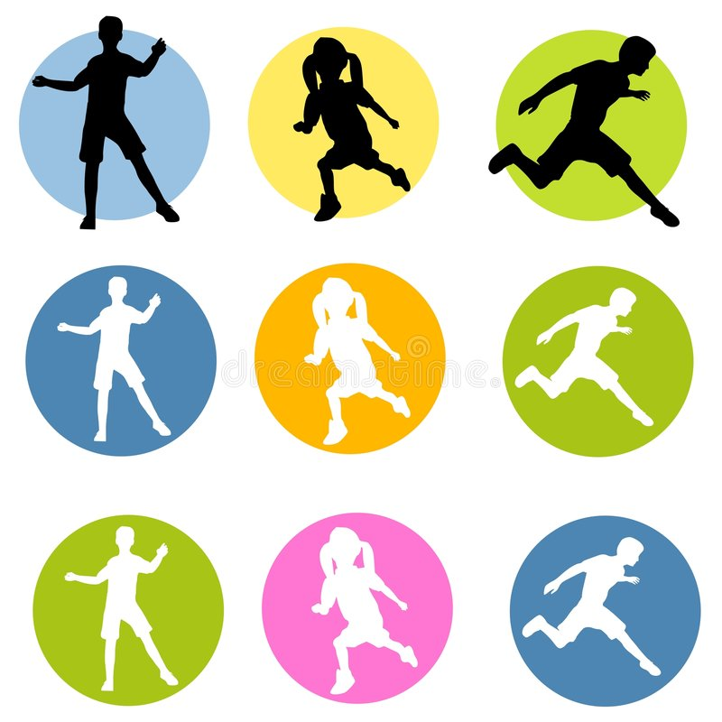 Active Children Silhouettes royalty free illustration