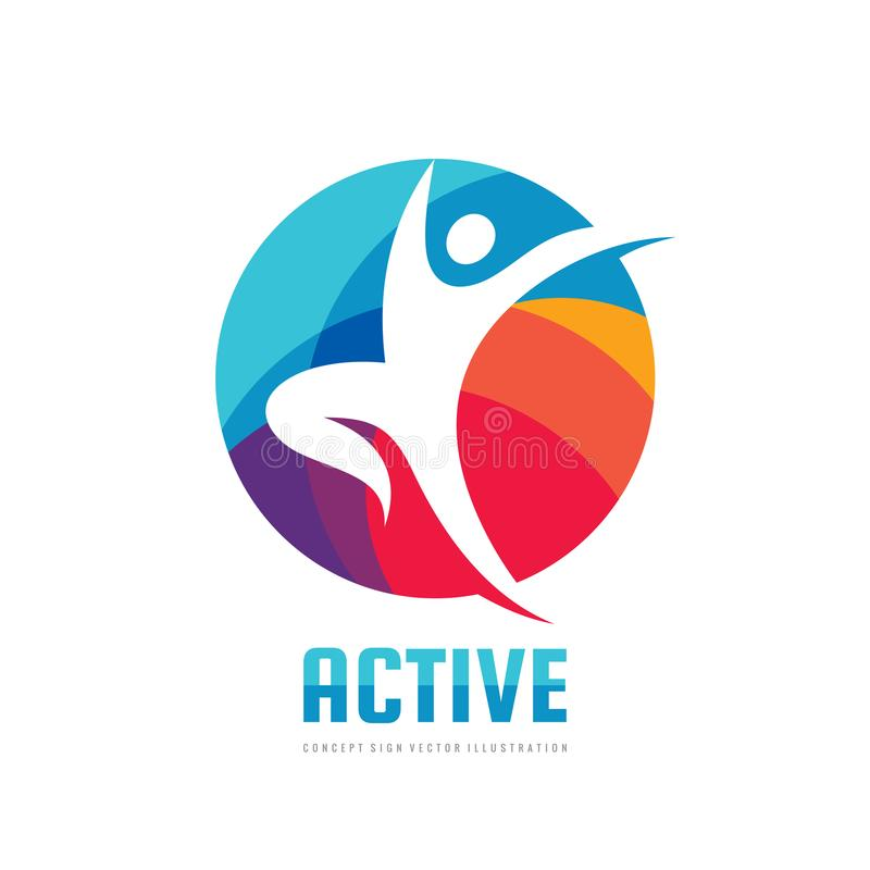 Active - concept business logo template vector illustration. Abstract human character creative sign. Sport fitness people symbol. Health icon. Graphic design stock illustration