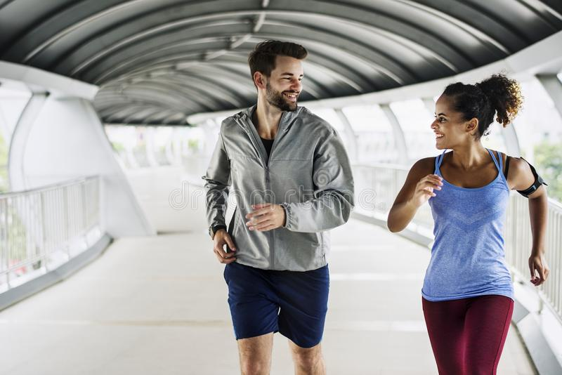Active couple working out together royalty free stock photography