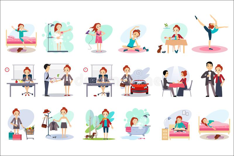 Active day of happy woman. Daily routine. Cartoon character of young pretty girl in different situations. Day time. Home. And work. Colorful flat vector royalty free illustration