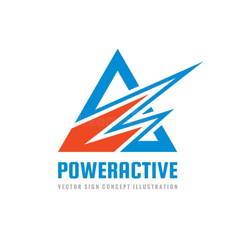 Active do poder - ilustração do vetor do molde do logotipo do negócio do conceito Sinal criativo abstrato das formas do triângulo ilustração do vetor