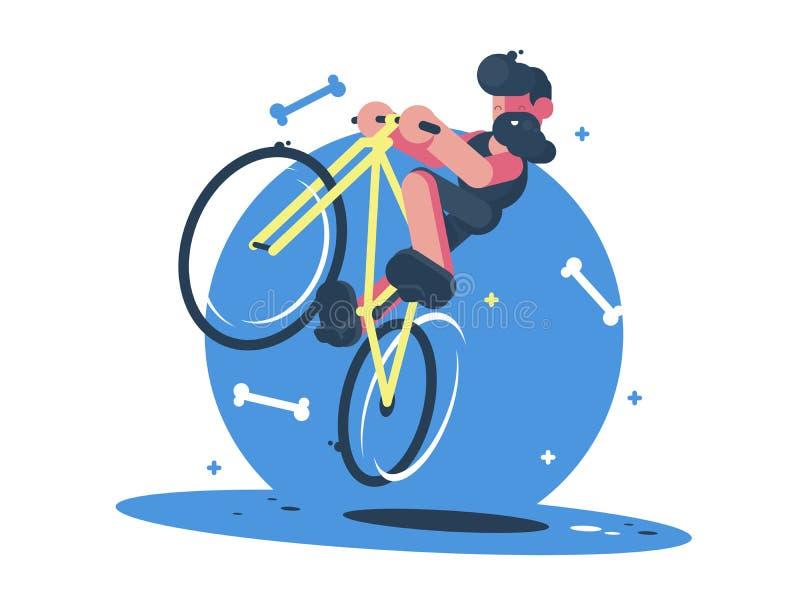 Active dude rides bicycle. Fun sports entertainment. flat illustration royalty free illustration