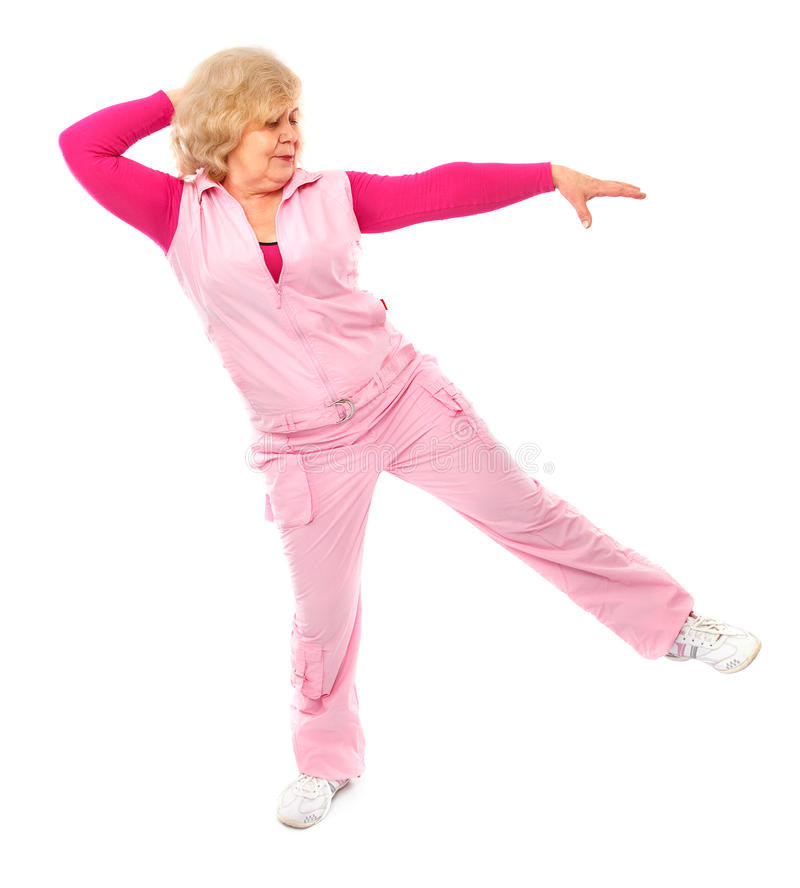 Active elderly lady coaching fitness stock photo