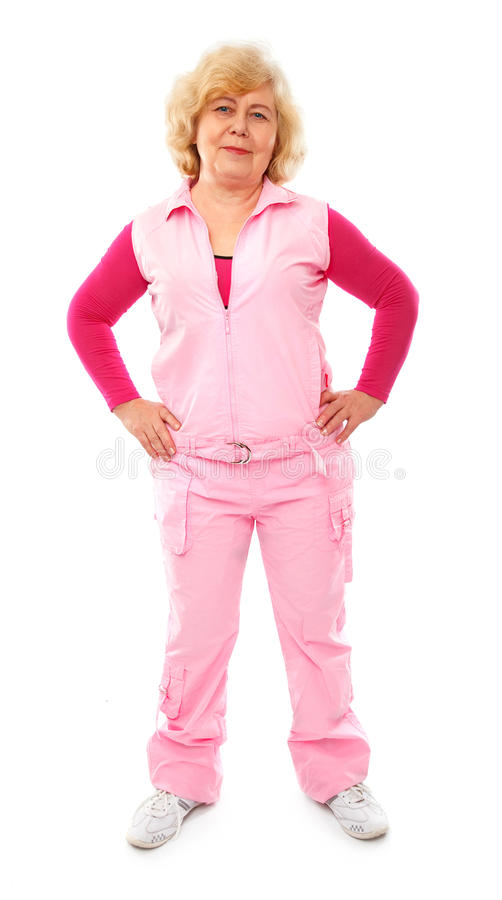Active elderly lady coaching fitness stock images