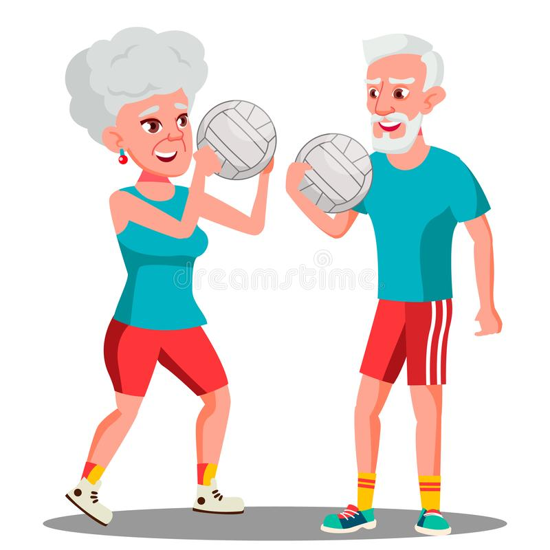 Active Elderly Man And Woman Playing Ball Vector. Isolated Illustration. Active Elderly Man And Woman Playing Ball Vector. Illustration vector illustration