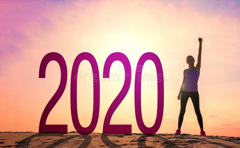Active and energetic woman ready for new year royalty free stock images