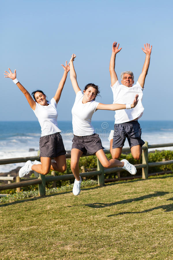 Download Active family jumping stock image. Image of husband, caucasian - 30939623
