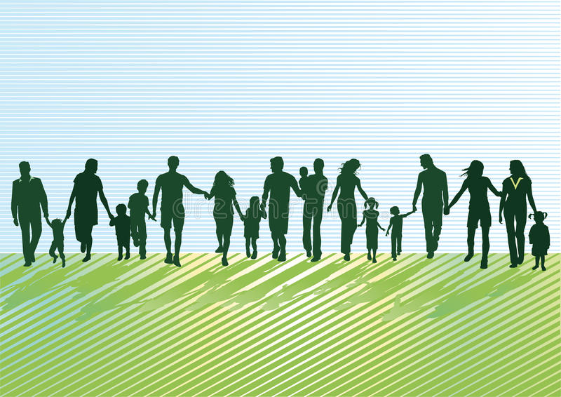 Active family silhouettes vector illustration