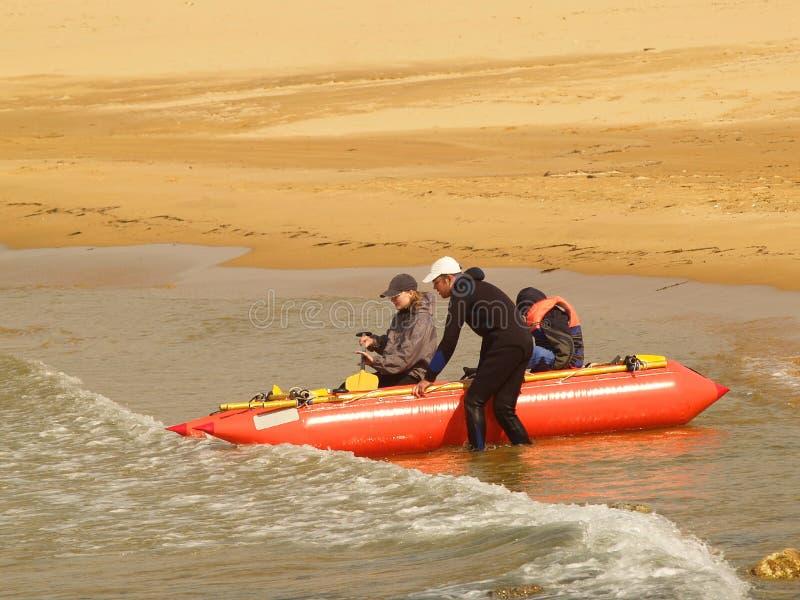 Active family vacation rafting royalty free stock photos