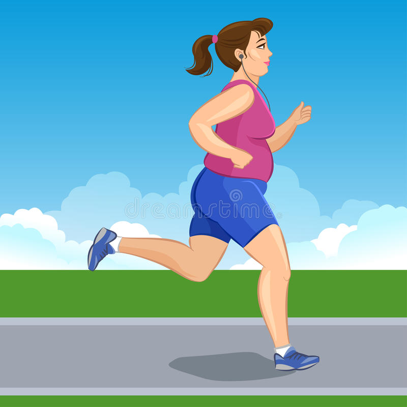Active fat young jogging woman, loss weight cardio training. Vector illustration stock illustration