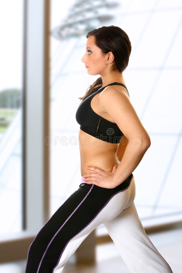 Active female in gym club stock photography