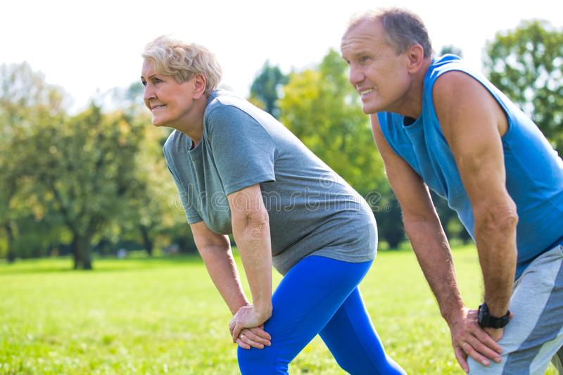 Active flexible senior couple stretching leg in park on sunny day royalty free stock photography