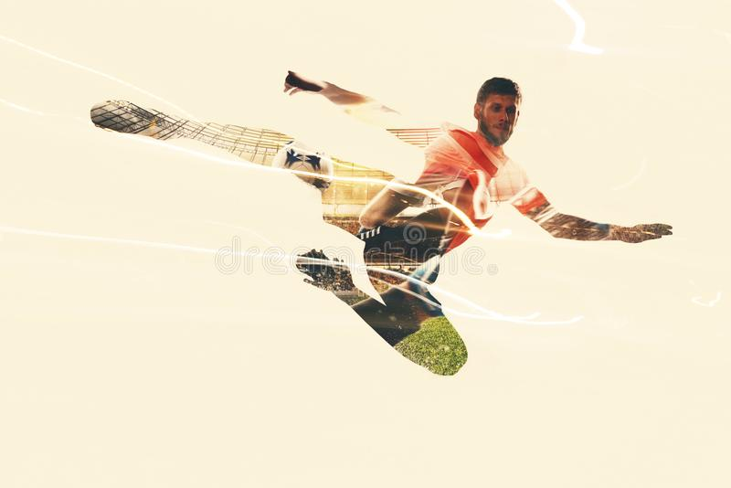 Football player at the soccer stadium. Active football player at the soccer stadium stock images