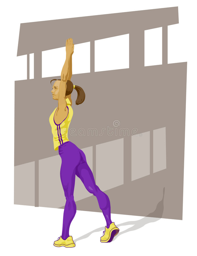 Active girl. Illustration of a sport girl streching