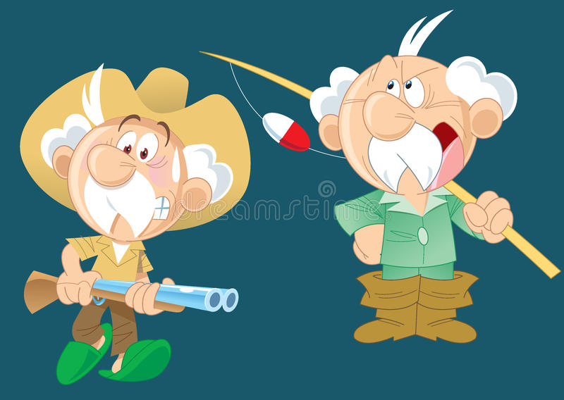 Active grandfather vector illustration