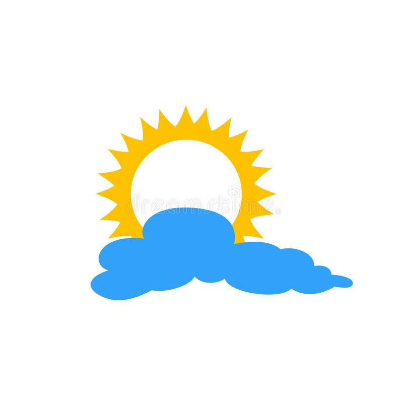Sun and cloud flat icon isolated on blue background. Sun and cloud sign symbol in flat style. Weather forecast element royalty free illustration