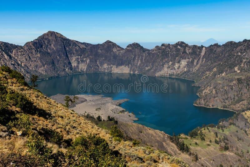 Active Jari Baru Volcano and Lake - Mt.Rinjani,Lombok, Asia. Beautiful View of Active Jari Baru Volcano and Lake Inside Rinjani mountain, Lombok, Indonesia, Asia royalty free stock images