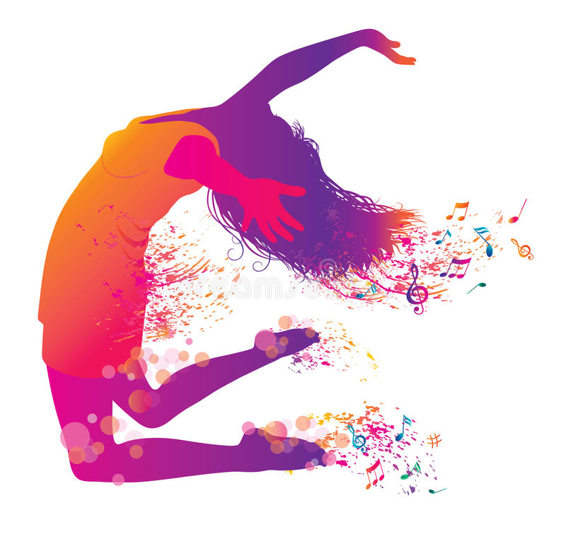 Active Jumping and Dancing Young Woman. Abstract Music Banner stock illustration