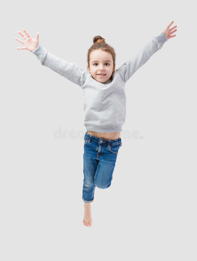Active jumping girl royalty free stock photos