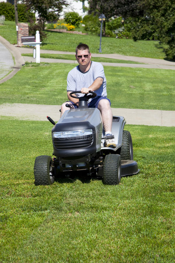 Download Active Man Mowing lawn stock photo. Image of trim, industry - 9586124