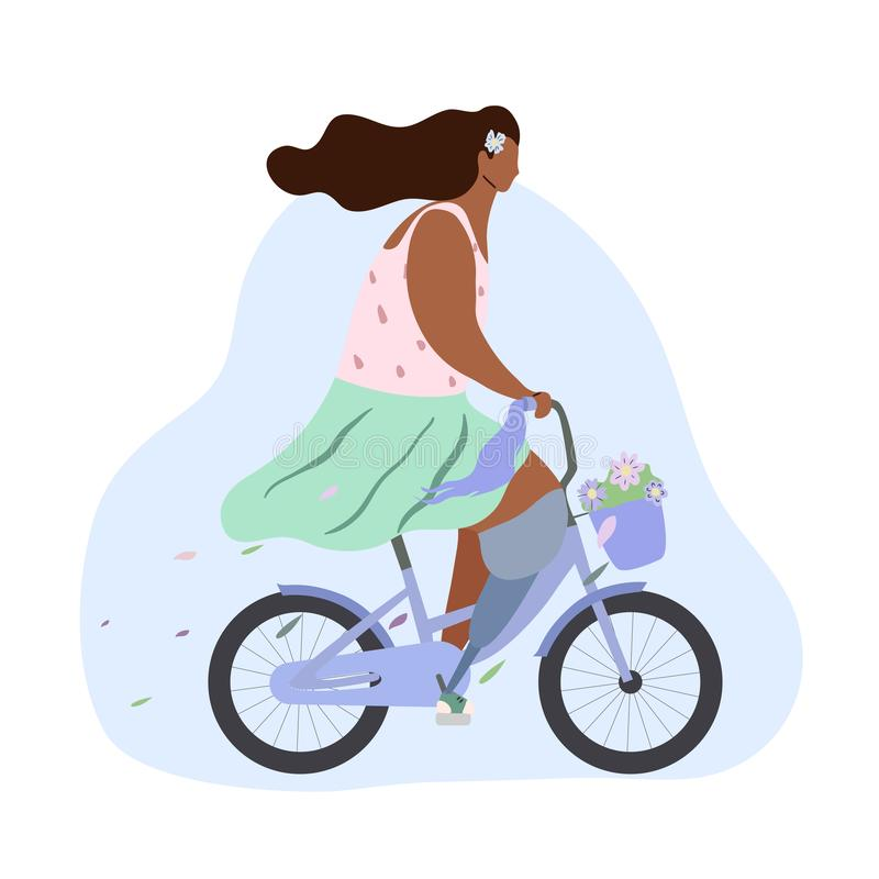 Active modern romantic african girl wit leg prosthesis on blue bike with flowers in basket. Modern flat illustration side view. Summer sports lifestyle for all royalty free illustration
