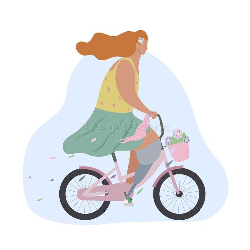 Active modern romantic girl with leg prosthesis on pink bike with flowers in basket. Modern flat illustration side view. Summer. Sports lifestyle for all vector illustration