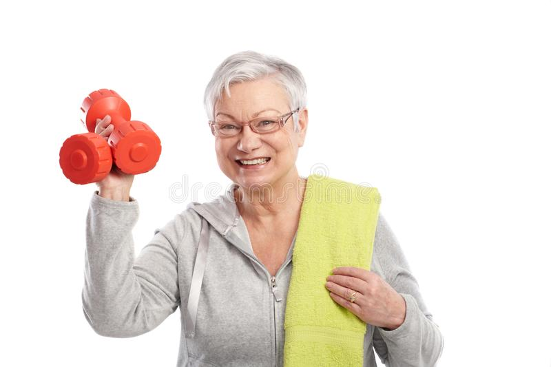 Download Active Old Lady With Dumbbells Smiling Stock Image - Image: 25341113