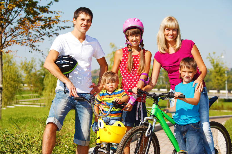 Active parents and kids royalty free stock photos