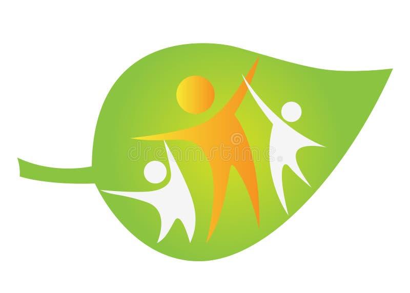 Active people. Illustration of active people design on leaf background stock illustration