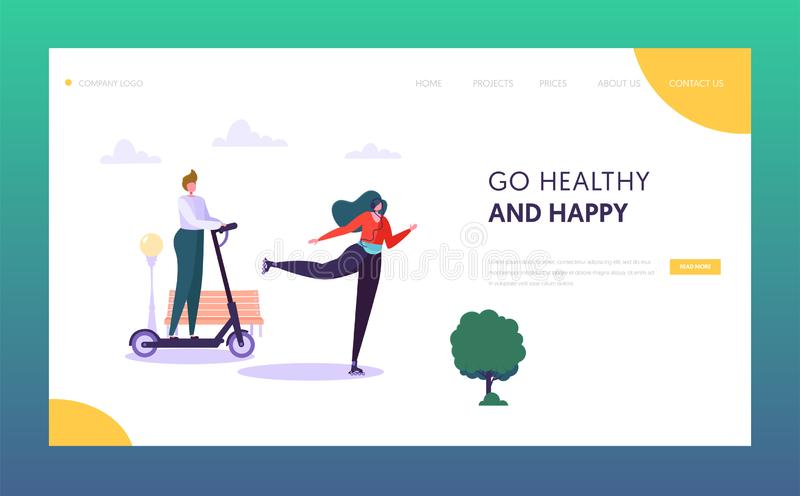 Active People Character in Park Landing Page. Healthy Lifestyle Concept. Man Riding Electric Skate , Woman Roller Skate. Outdoor Website or Web Page. Flat vector illustration