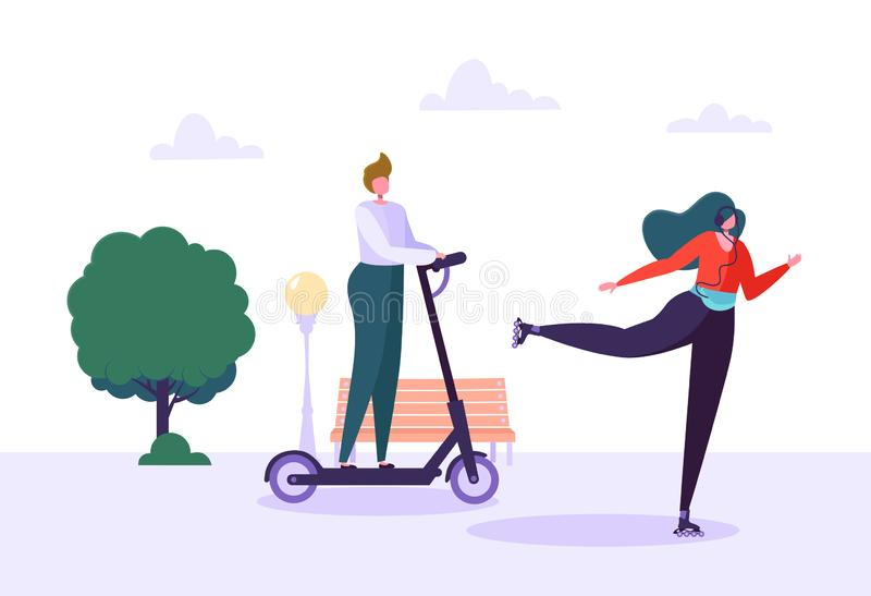 Active People on Eco Transportation. Young Woman Character Roller Skating in the City Park. Man Riding Electric Scooter. Healthy Lifestyle. Vector Illustration vector illustration