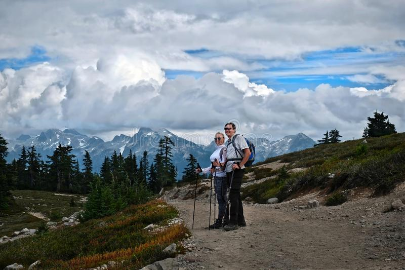 Young married couple hiking near Vancouver. royalty free stock photos